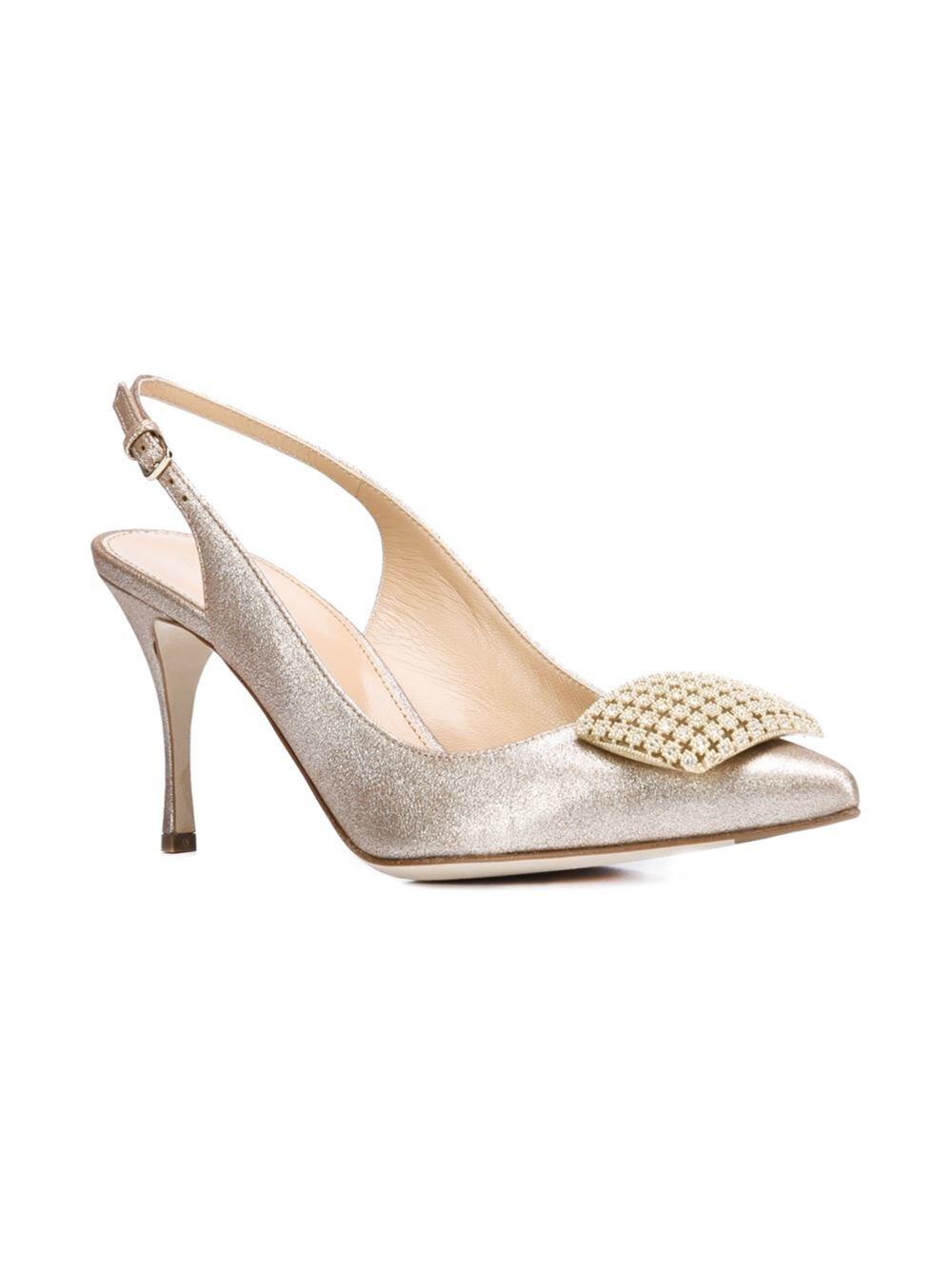 960 Talla 38 US 7.5 7.5 7.5 Sergio Rossi Cuero Charol Sandalias Zapatos Eloise Platino  productos creativos