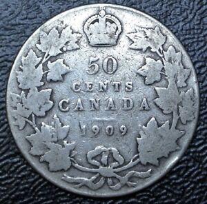 Old Canadian Coin 1909 50 Cents Half Dollar 925 Silver Edward Vii Nice Ebay