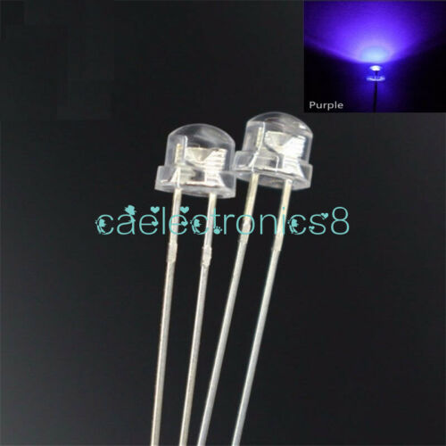 100PCS 5mm Straw Hat UV Purple Super-Bright LED Light Emitting Diode