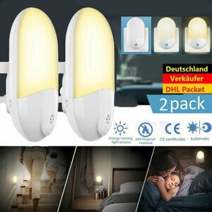 2-pcs-LED-Nachtlicht-Warmweiss-Steckdose-Kinder-Daemmerungssensor-Steckdosenlampe