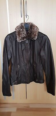 Gina (ernstings family) Damen Lederimitat Jacke mit abnehmbarer Fellkragen Gr 38 | eBay