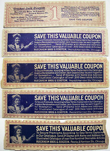 Early-1900-039-s-Cracker-Jack-Mail-Away-Coupons-For-Premiums-Catalog-5-Different