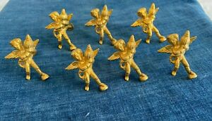 7 FRENCH Country SHABBY Chic Vintage ANGEL CHERUB gold Knob Pulls - CHARMING!
