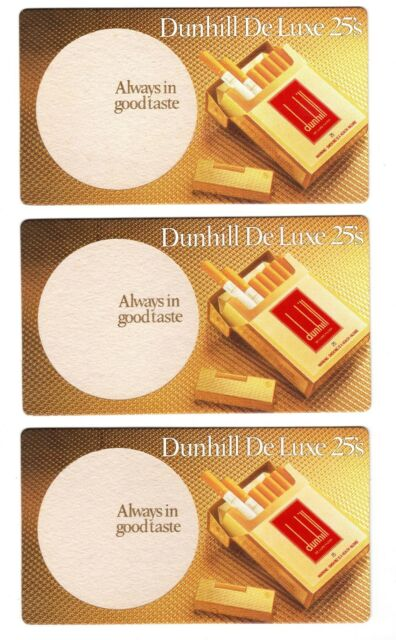 3 x Dunhill Deluxe 25's - Vintage Drink Coasters Beer Mats - Tobacciana