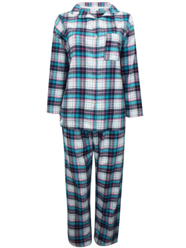 Womens Pure Cotton Long Sleeve Check Button Up Pyjama Set PJ/'S Ladies Nightwear