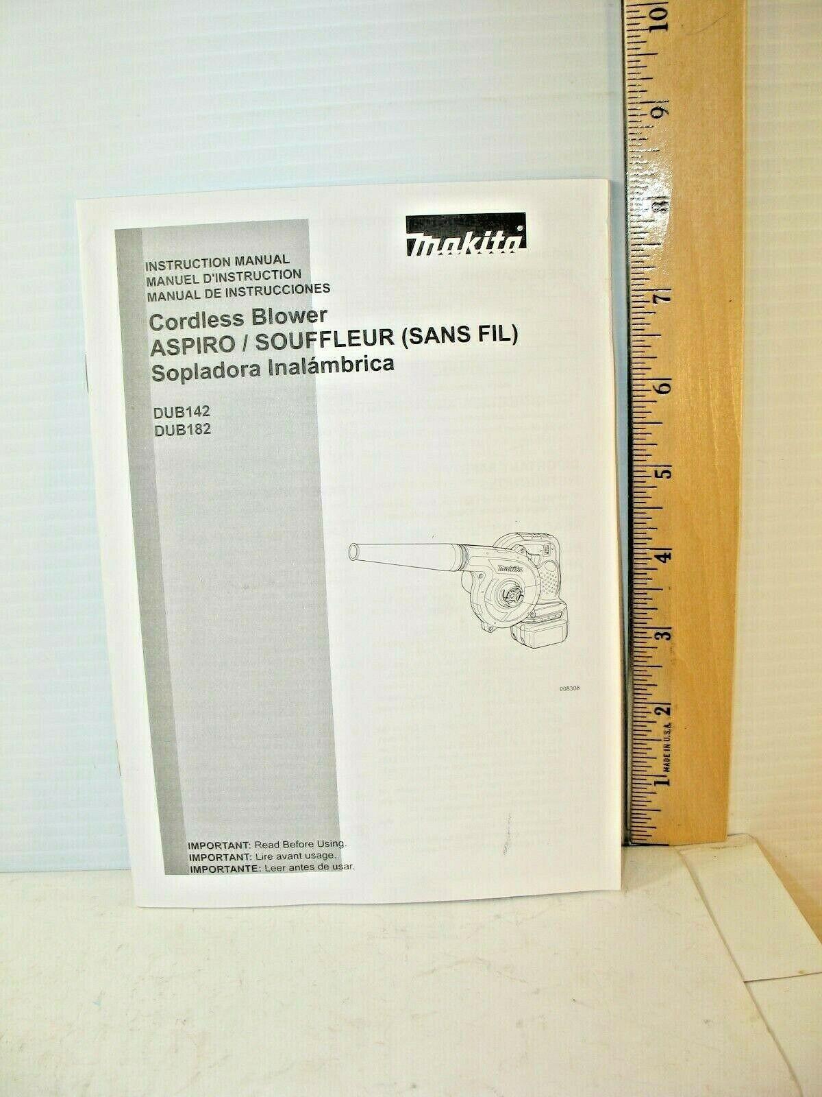 Makita Cordless Blower Instruction Manual DUB142/DUB182