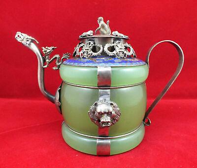 Chinese handwork old green /& Red jade bracelet inlay tibet-silver dragon teapot