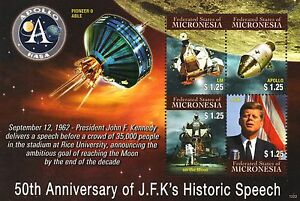 Adroit Jfk Kennedy Lune Discours/apollo/lunar M/pioneer 0 Space Stamp Sheet (micronésie)-lunar M/pioneer 0 Space Stamp Sheet (micronesia)fr-fr Afficher Le Titre D'origine