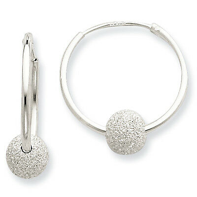 Laser Cut Bead 6mm x 20mm Endless Hoop Earrings 925 Sterling Silver