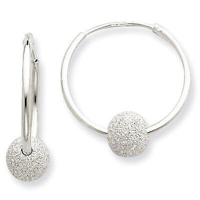 Laser Cut Bead 6mm x 20mm Endless Hoop Earrings 925 Sterling Silver