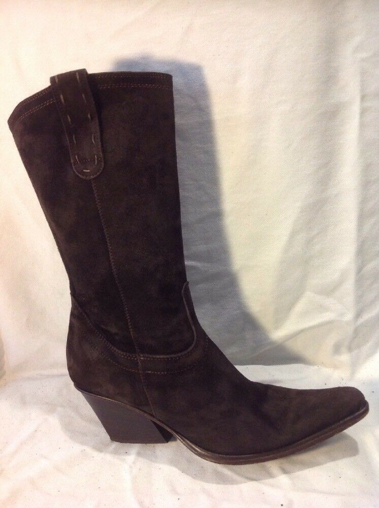 Joseph Brown Mid Calf Suede Boots Size 38