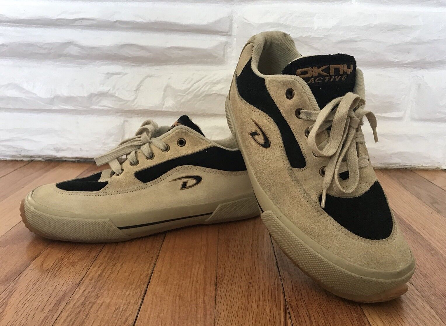 Vintage DKNY Beige And Black suede Sneakers size 10