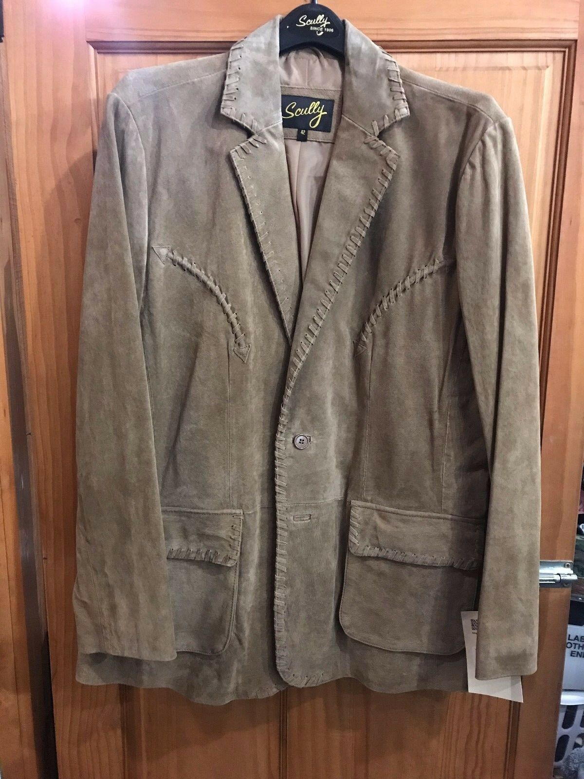 SCULLY Men's Brown Tan Leather Long Sleeve Blazer 719 NWT