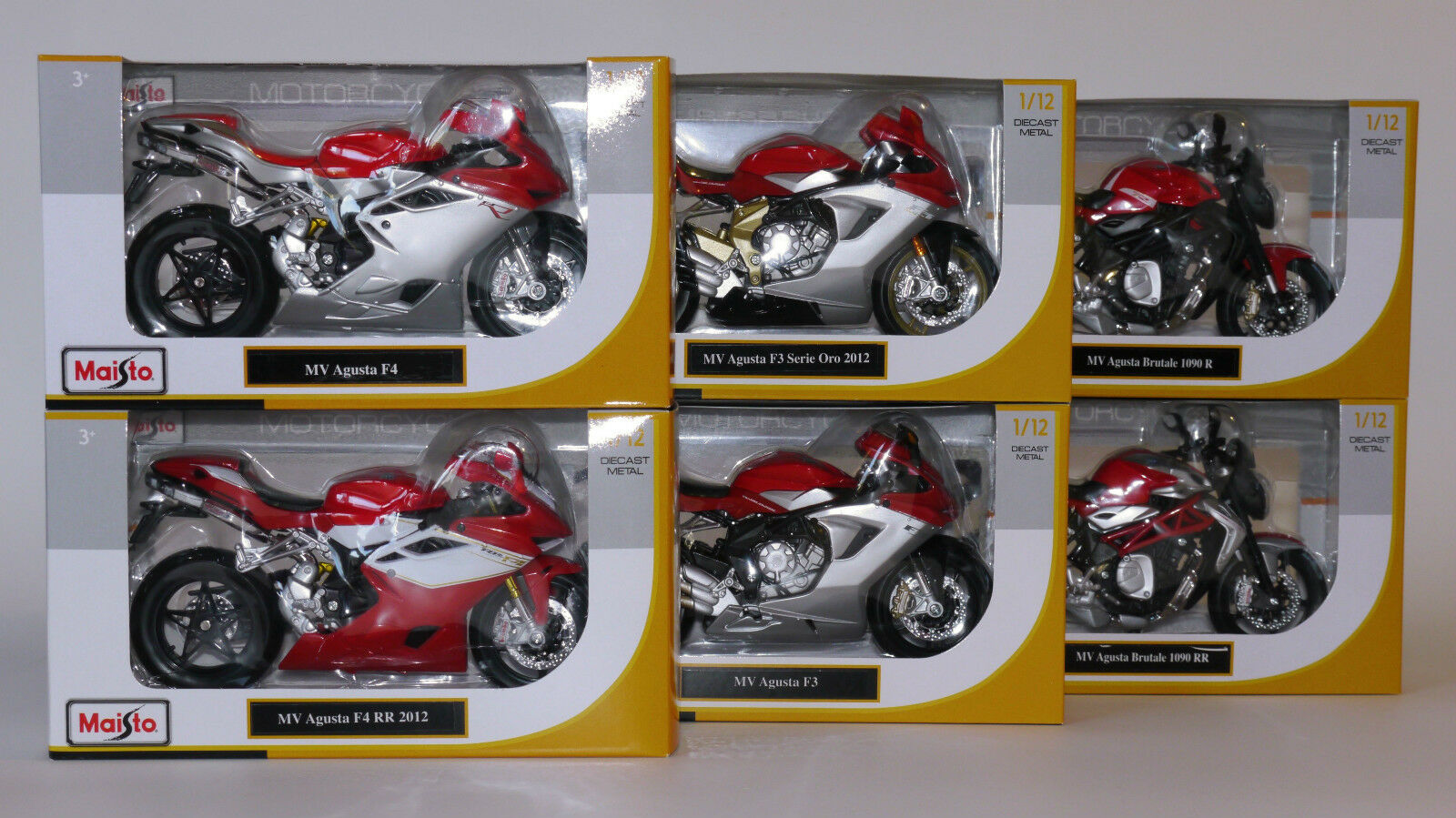 Maisto MV Agusta Collectors Set Set Set - MV Agusta F3 F4 Brutale - 6 Modelle 1 12  | Optimaler Preis