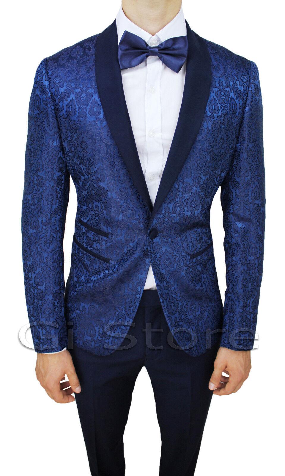 Kleid komplette Mann blau sartoriale Kleid élégant Damast NUOVO da 42 a 60