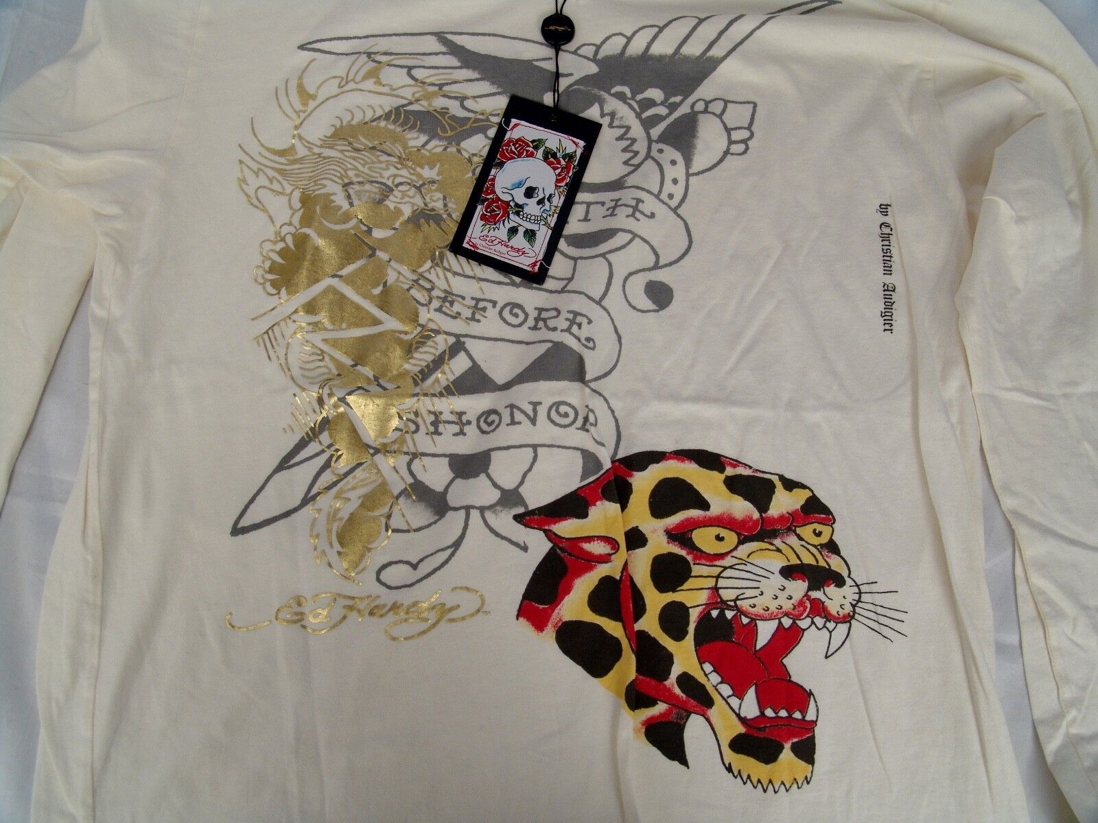 Ed Hardy Made In USA Leopard T-Shirt 100% Cotton NWT Größe XL Hand Crafted