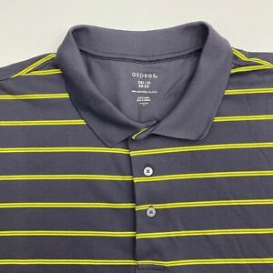 George Polo Shirt Men's Size 2XL Short Sleeve Gray Yellow Striped Casual Golf