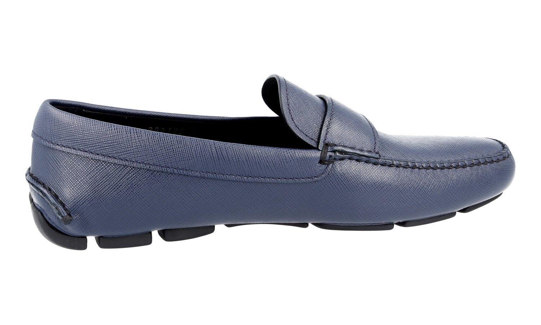 LUSSO PRADA PRADA PRADA SAFFIANO Slipper Scarpe Loafer 2dd125 BLU NUOVO NEW 9,5 43,5 44 309f65