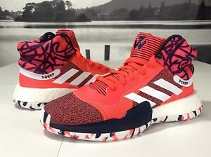 Adidas-Marquee-Boost-Men-039-s-Basketball-Shoes-Shock-Red-White-Navy-G27737-Size-10
