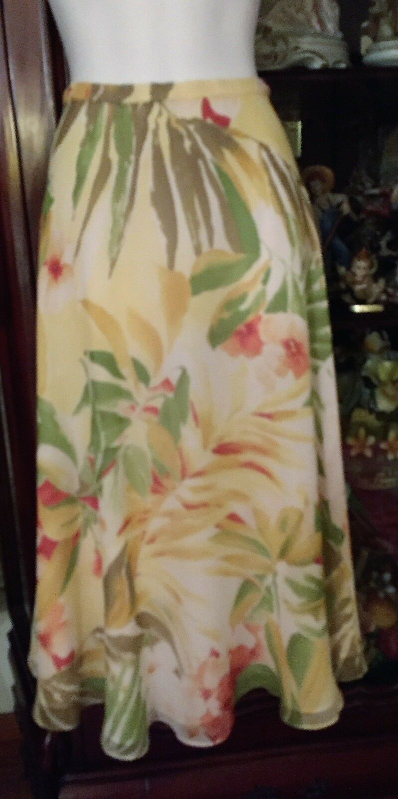 335 NEW Linda Allred Ellen Tracy Silk Floral Skirt Sz. 4