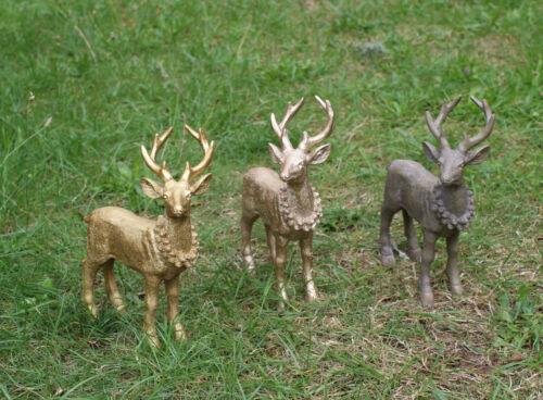 Hirsch Personnage jardin déco 3 couleurs Damhirsch Cerf personnage Wild deco bois de cerf 17x6x21cm