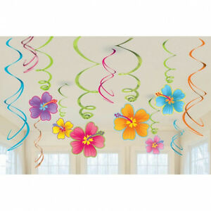 HAWAIIAN-LUAU-HIBISCUS-FLOWER-SWIRLS-BEACH-PARTY-HANGING-DECORATION-X-12