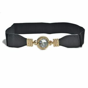 White elastic belt women with Silver maple leaf buckle