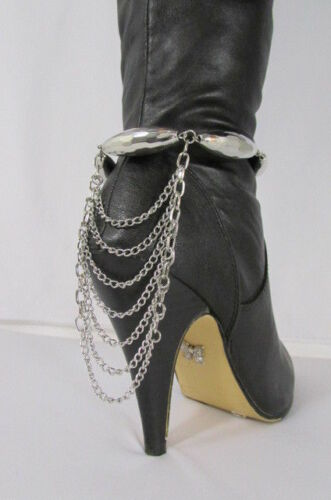 New Women Trendy Fashion One Boot Shoe Gold Strap Chain Big Beads Gold Silver