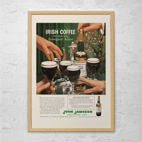 Bar Poster Retro Irish Whiskey Ad VINTAGE JAMESON AD Man Barware Wall Art