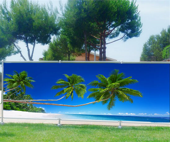 Brise vue imprimé, jardin, terrasse, balcon déco Palmiers Plage 9149