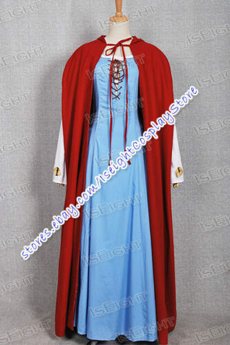 Red Riding Hood Cosplay Valerie Costume Blue Dress With Red Cape Full Set Outfit