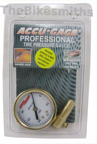 Meiser Accu-Gauge 0-30psi PRESTA Valve Low PSI Tire Gauge Dial Gage Fat Bike