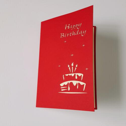Blue Red Birthday Cake 3D Pop Up Card