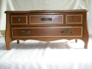 Vintage London Leather Jewelry BoxMusic Box Wooden Mirror Legs