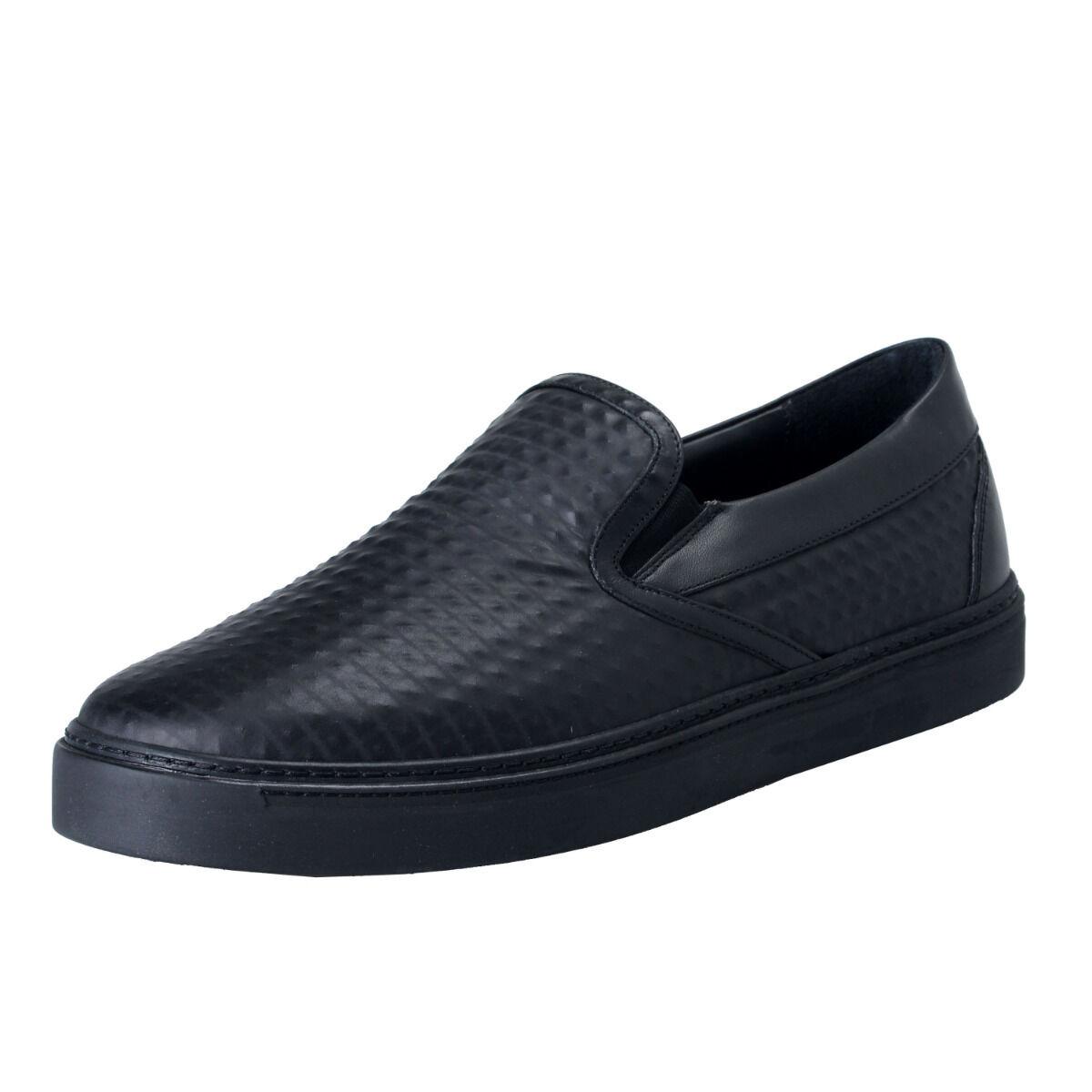 MCM Men's Black Textured Leather Moccasins Slip On Shoes Sz 8 9 10 11 12