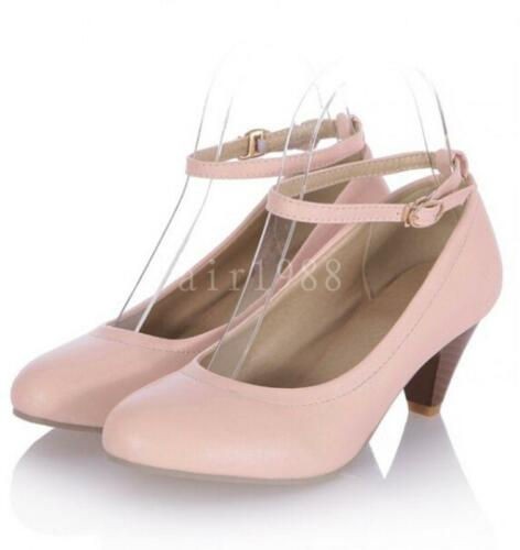 New Womens ladies chunky heels PU Leather Round toe Ankle Strap Mary Janes Shoes