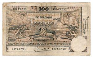 BELGIUM-banknote-100-Francs-1920-VF-Very-Fine-grade