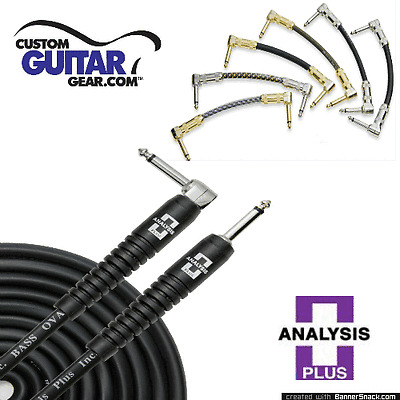 """Analysis Plus 6"""" inch PAIR of Black Oval Patch Cables w/ Straight/Angle Plugs"""