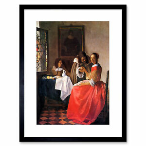 Vermeer Girl With A Wine Glass Old Master Framed Wall Art Print