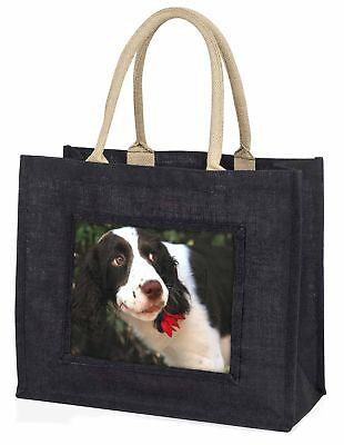 Springer Spaniel Hund und Blume große schwarze Einkaufstasche Christmas