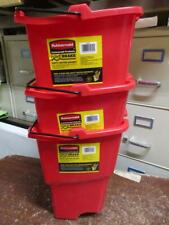 3x Rubbermaid Commercial Wavebrake 18 Qt Dirty Water Wringer Bucket Red