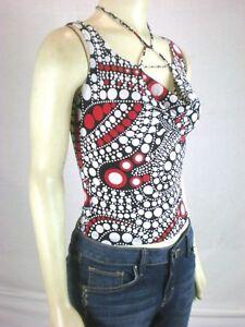 New-womens-size-small-TRUE-LIGHT-Black-Polka-Dot-Sleeveless-shirt-blouse-tank-S