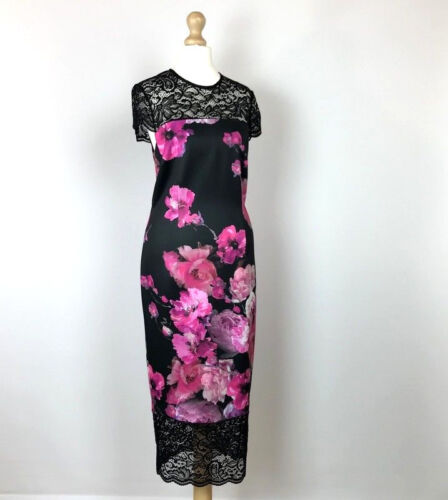 West Dress £ Lace Rrp 8 taglia Womens London Black 139 9 00 Pencil Pink Uk Floral tO7qtrP