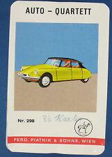 Quartett - AUTO - PIATNIK - Nr. 298 - von 1966 - Kartenspiel - Quartettspiel