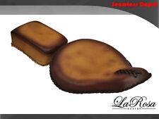 "16"" LaRosa Dark Tan Leather Harley Softail Bobber Rigid Solo Seat + Pillion Pad"