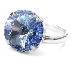 neu ring mit 14mm swarovski stein light saphir hellblau blau damenring ebay. Black Bedroom Furniture Sets. Home Design Ideas