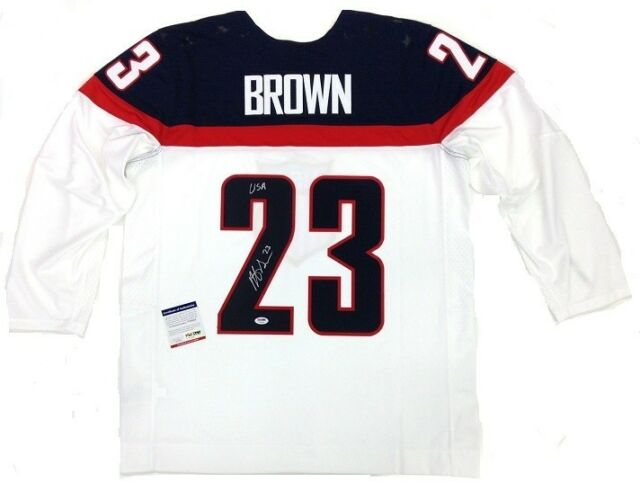 DUSTIN BROWN SIGNED TEAM USA 2014 OLYMPICS WHITE NIKE JERSEY LA KINGS PSA/DNA