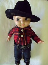 "Buddy Lee Jeans Cowboy Composition Doll 1920-1940's 13"" tall"