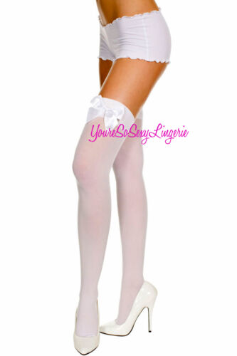 OPAQUE Thigh Highs w//SATIN BOWS Stockings OVER-THE-KNEE School Girl RAVEWEAR OS