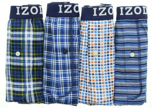 4 Pack IZOD Mens Button Fly Cotton Tag Free Boxer Shorts Underwear